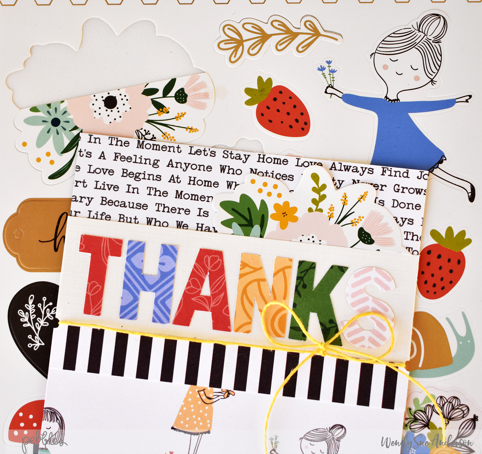 "Thank you card set by Wendy Sue Anderson featuring the ""Along The Way"" collection by @PebblesInc."
