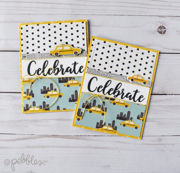 "Quick and Easy ""Celebrate"" card by Wendy Sue Anderson featuring the ""Chasing Adventures"" collection by Jen Hadfield for @PebblesInc."