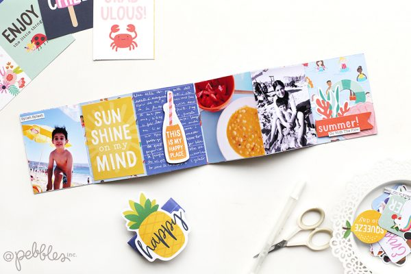 Create a quick mini album using only 3 elements! Follow this week's tutorial by @evapizarrov featuring @pebblesinc new summer line