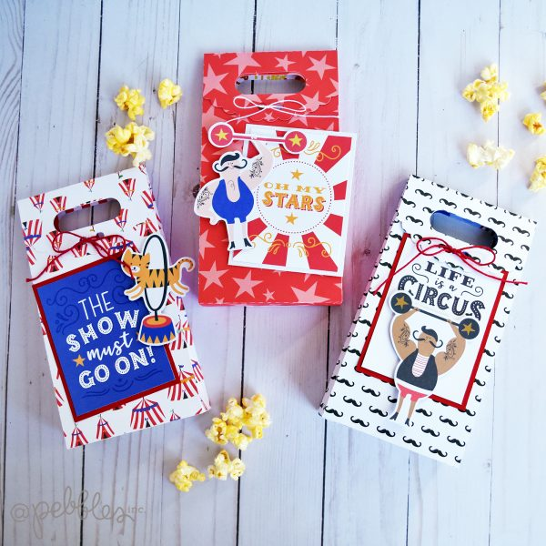 """3 product challenge: circus themed treat bags by Wendy Sue Anderson featuring the """"Big Top Dreams"""" collection by @PebblesInc."""