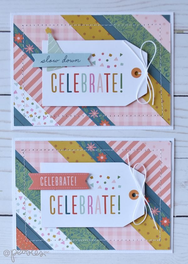 "Use your scraps to make a fun card set! Cards by Wendy Sue Anderson for #PebblesInc. featuring the ""This is Family"" Collection"
