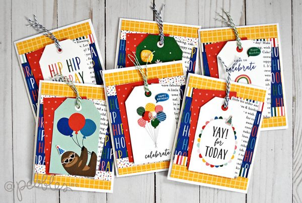 "quick and easy birthday card set by Wendy Sue Anderson featuring the ""Happy Cake Day"" collection by @PebblesInc."