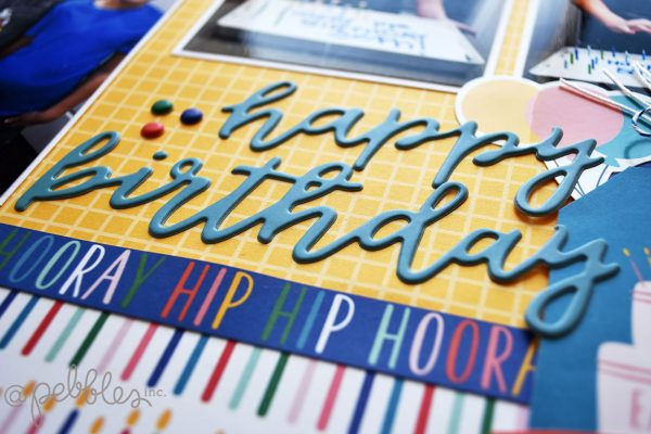 "Happy Birthday layout by Wendy Sue Anderson featuring the ""Happy Cake Day"" collection by @PebblesInc."