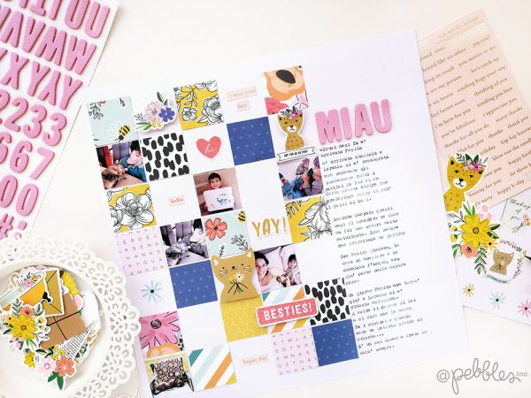Want to create a fast and easy layout? @evapizarrov created with lovely grid design layout with the new hey! Hello! collection from @pebblesinc