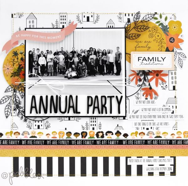 "Annual family party layout by Wendy Sue Anderson for @PebblesInc featuring the ""We Are Family"" Collection"