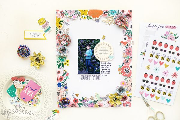 Use flowers to create a lovely spring layout like this one from @evapizarrov using the new #HeyHello collection by @pebblesinc