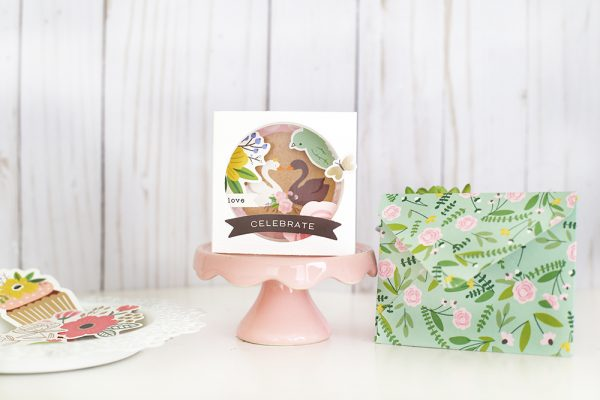 Shadow box cards are super cute and easy to make! @evapizarrov crate this one with the Lovely Moments line from @pebblesinc