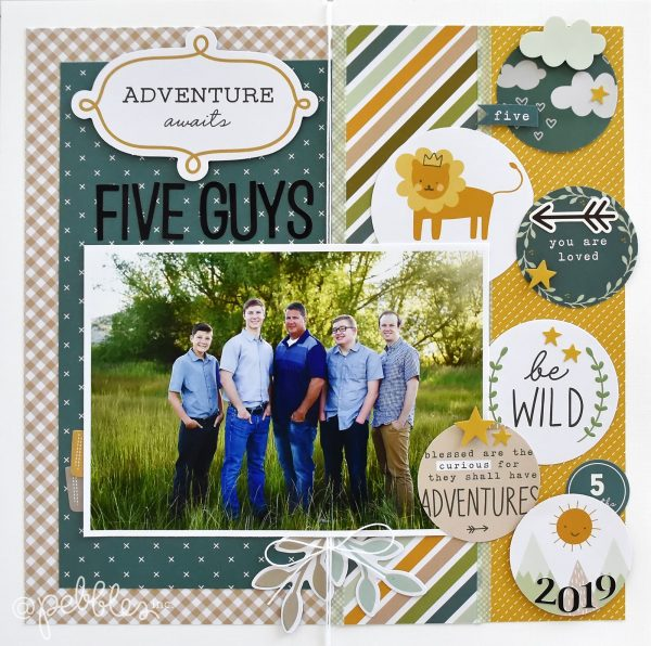 "A layout for the boys by Wendy Sue Anderson featuring the ""Peek-A-Boo-You Boy"" Collection by @PebblesInc."