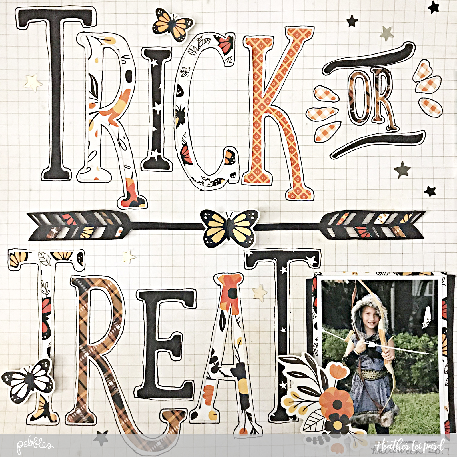 Trick or Treat Scrapbooking Layout by @HeatherLeopard using @pebblesinc #MidnightHaunting collection #Halloween #scrapbooking #scrapbook #trickortreat