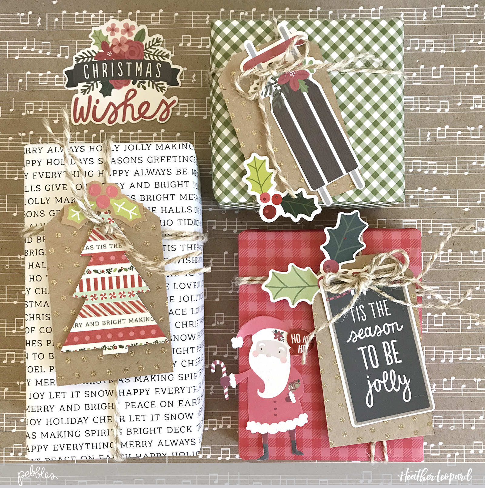 DIY Christmas Gift Wrap Tags by @heatherleopard using @PebblesInc #merrymerry collection #madewithpebbles #christmastags #gifttags #Christmas