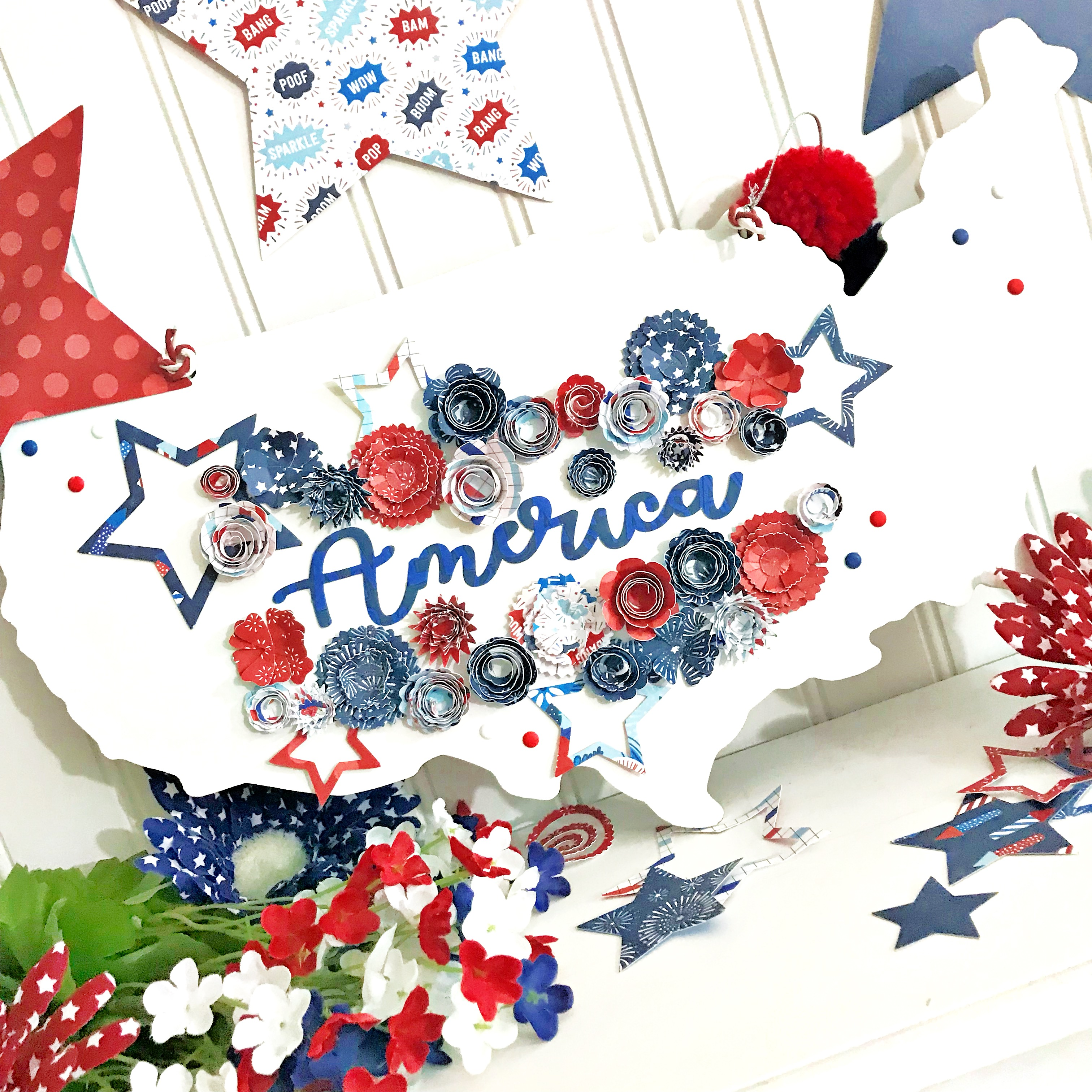 Pebbles Patriotic Home Decor by @HeatherLeopard using @pebblesinc #LandThatILove collection #madewithpebbles #homedecor #patriotic #stars #america #4thofJuly