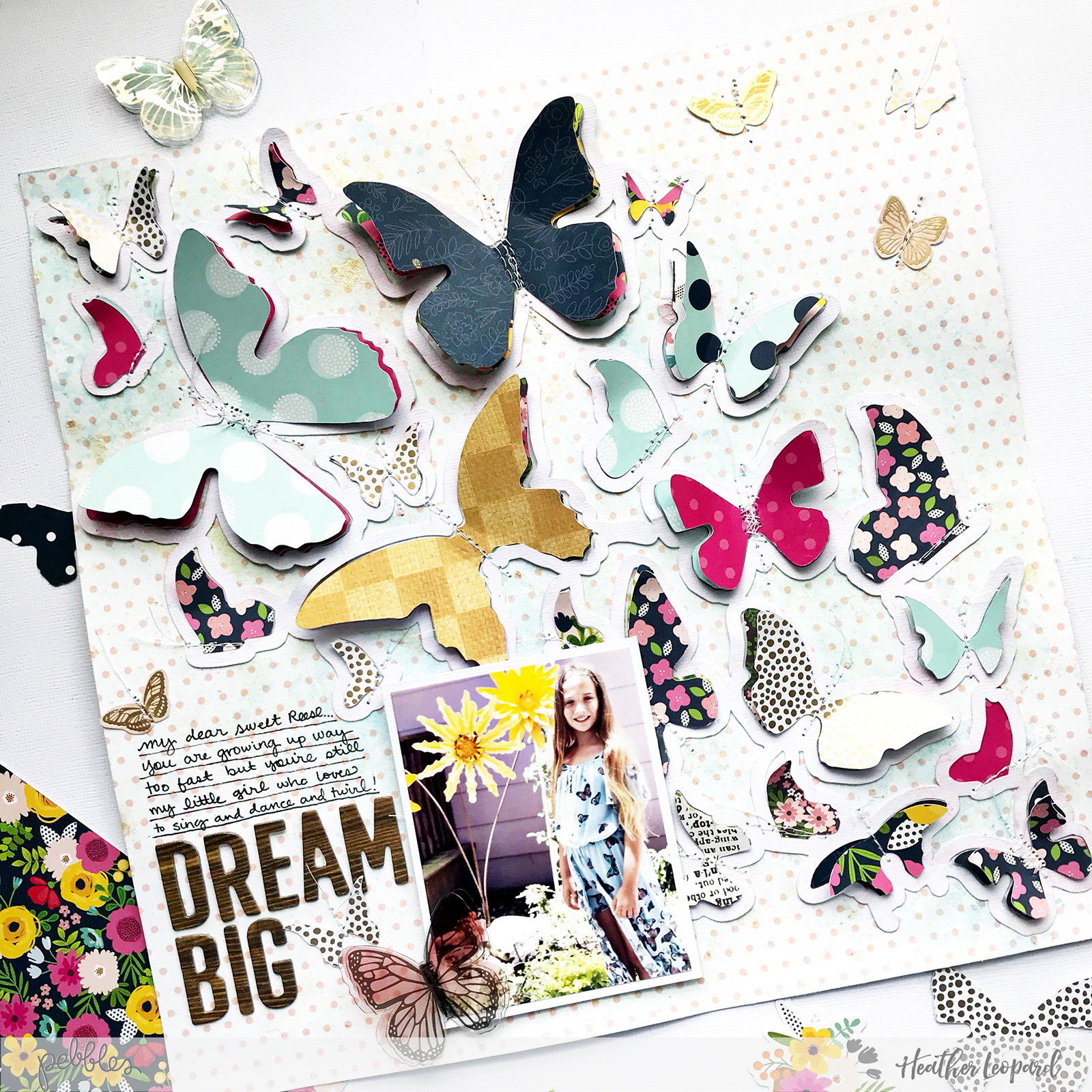 Dream Big Butterfly scrapbooking layout by @HeatherLeopard using @PebblesInc #PatioParty collection #madewithpebbles #scrapbooking #scrapbook #butterfly #dreambig #paigeevans