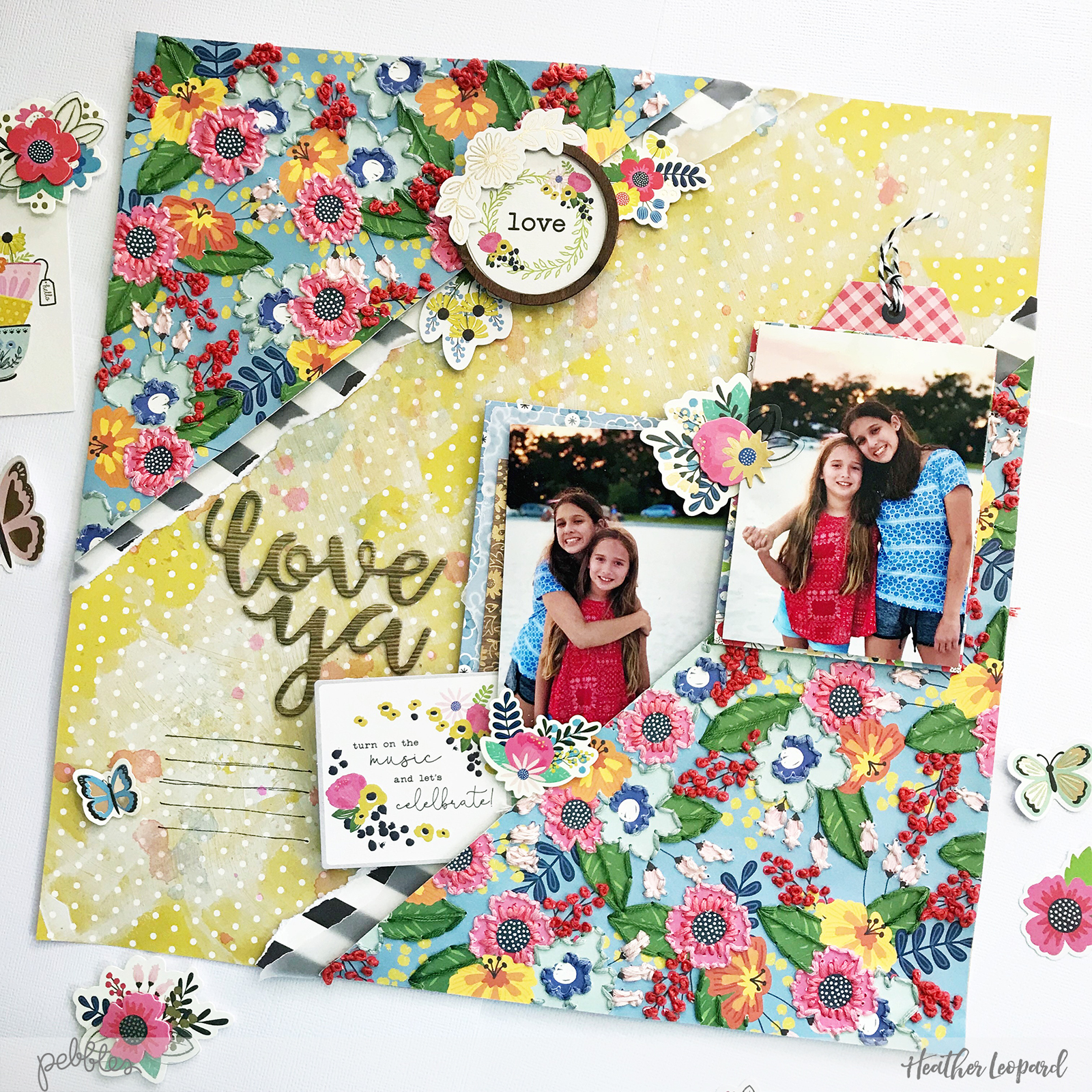 Embroidered Patterned Paper Scrapbooking by @HeatherLeopard using @PebblesInc #MyBrightLife collection #scrapbooking #sewing #mixedmedia #papercrafts #scrapbook #embroidery